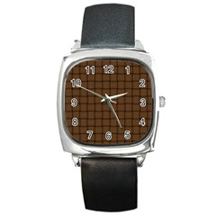 Brown Nose Weave Square Leather Watch by BestCustomGiftsForYou