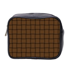 Brown Nose Weave Mini Travel Toiletry Bag (two Sides)