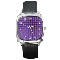 Amethyst Weave Square Leather Watch