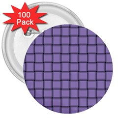 Light Pastel Purple Weave 3  Button (100 Pack) by BestCustomGiftsForYou