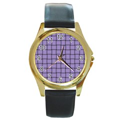 Light Pastel Purple Weave Round Metal Watch (Gold Rim)  by BestCustomGiftsForYou