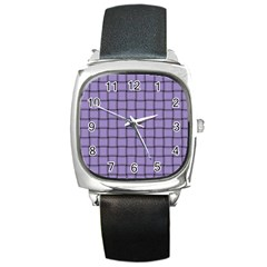 Light Pastel Purple Weave Square Leather Watch by BestCustomGiftsForYou