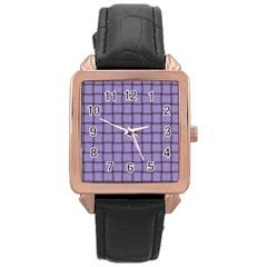 Light Pastel Purple Weave Rose Gold Leather Watch  by BestCustomGiftsForYou