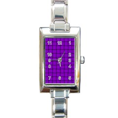 Dark Violet Weave Rectangular Italian Charm Watch by BestCustomGiftsForYou