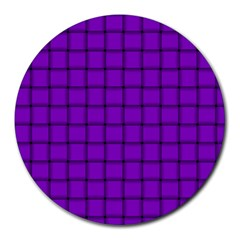 Dark Violet Weave 8  Mouse Pad (round) by BestCustomGiftsForYou