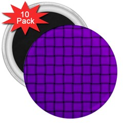 Dark Violet Weave 3  Button Magnet (10 Pack) by BestCustomGiftsForYou