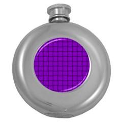 Dark Violet Weave Hip Flask (round)