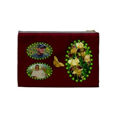 Golden Iris Medium Cosmetic Bag By Joy Johns   Cosmetic Bag (medium)   Zcdnf8bg3xzk   Www Artscow Com Back