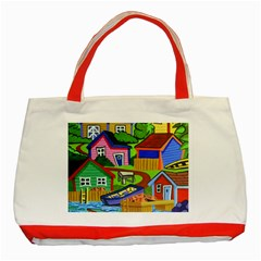 Three Boats & A Fish Table Classic Tote Bag (red) by reillysart
