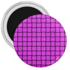 Ultra Pink Weave  3  Button Magnet by BestCustomGiftsForYou
