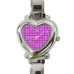 Ultra Pink Weave  Heart Italian Charm Watch  by BestCustomGiftsForYou