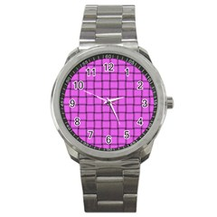 Ultra Pink Weave  Sport Metal Watch by BestCustomGiftsForYou