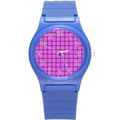 Ultra Pink Weave  Plastic Sport Watch (small) by BestCustomGiftsForYou