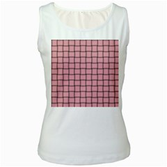 Light Pink Weave Womens  Tank Top (White) by BestCustomGiftsForYou