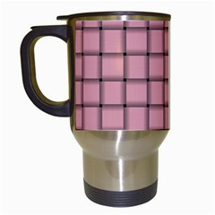 Light Pink Weave Travel Mug (white) by BestCustomGiftsForYou