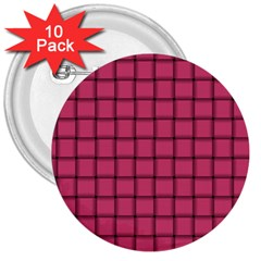 Dark Pink Weave 3  Button (10 Pack) by BestCustomGiftsForYou