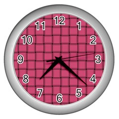 Dark Pink Weave Wall Clock (silver) by BestCustomGiftsForYou