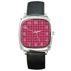 Dark Pink Weave Square Leather Watch
