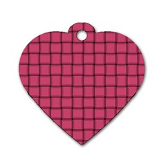 Dark Pink Weave Dog Tag Heart (One Sided)  by BestCustomGiftsForYou