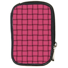 Dark Pink Weave Compact Camera Leather Case by BestCustomGiftsForYou