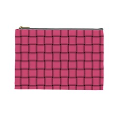 Dark Pink Weave Cosmetic Bag (large) by BestCustomGiftsForYou