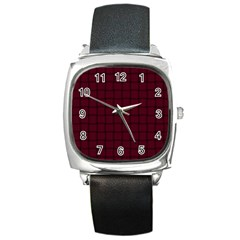 Dark Scarlet Weave Square Leather Watch