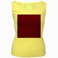 Burgundy Weave Womens  Tank Top (yellow) by BestCustomGiftsForYou