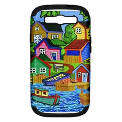 Three Boats & A Fish Table Samsung Galaxy S Iii Hardshell Case (pc+silicone) by reillysart