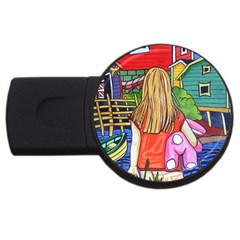 Blue Door And Stuffed Bunny 4gb Usb Flash Drive (round) by reillysart