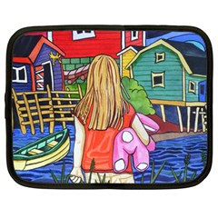 Blue Door And Stuffed Bunny Netbook Case (large) by reillysart