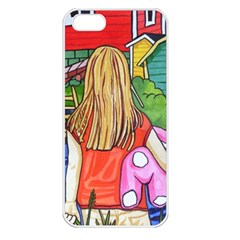 Blue Door And Stuffed Bunny Apple Iphone 5 Seamless Case (white)