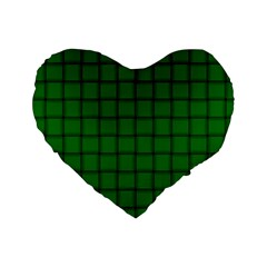 Green Weave 16  Premium Heart Shape Cushion  by BestCustomGiftsForYou