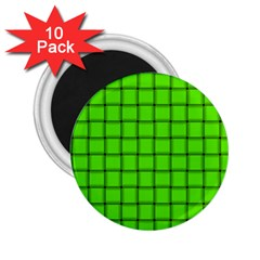 Bright Green Weave 2 25  Button Magnet (10 Pack) by BestCustomGiftsForYou
