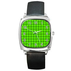Bright Green Weave Square Leather Watch
