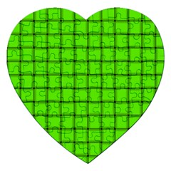 Bright Green Weave Jigsaw Puzzle (heart) by BestCustomGiftsForYou