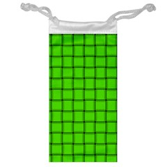 Bright Green Weave Jewelry Bag