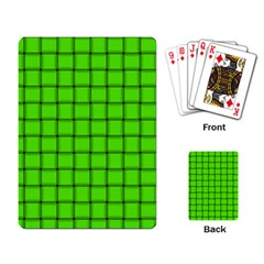 Bright Green Weave Playing Cards Single Design by BestCustomGiftsForYou