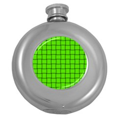 Bright Green Weave Hip Flask (round) by BestCustomGiftsForYou