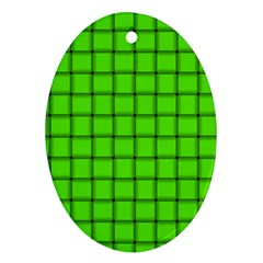 Bright Green Weave Oval Ornament (two Sides) by BestCustomGiftsForYou
