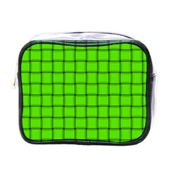 Bright Green Weave Mini Travel Toiletry Bag (one Side) by BestCustomGiftsForYou