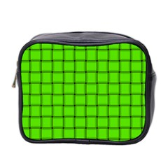 Bright Green Weave Mini Travel Toiletry Bag (two Sides) by BestCustomGiftsForYou