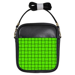 Bright Green Weave Girl s Sling Bag