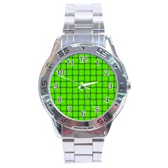 Bright Green Weave Stainless Steel Watch (men s) by BestCustomGiftsForYou