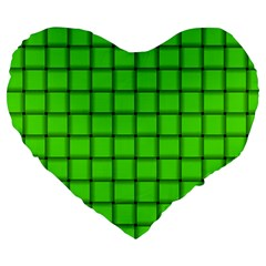 Bright Green Weave 19  Premium Heart Shape Cushion by BestCustomGiftsForYou