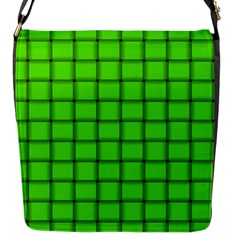 Bright Green Weave Flap Closure Messenger Bag (small) by BestCustomGiftsForYou