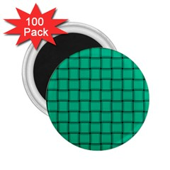 Caribbean Green Weave 2 25  Button Magnet (100 Pack) by BestCustomGiftsForYou
