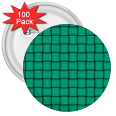 Caribbean Green Weave 3  Button (100 Pack) by BestCustomGiftsForYou