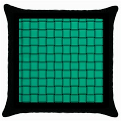 Caribbean Green Weave Black Throw Pillow Case by BestCustomGiftsForYou