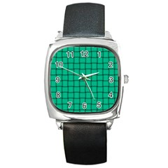 Caribbean Green Weave Square Leather Watch by BestCustomGiftsForYou