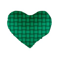 Caribbean Green Weave 16  Premium Heart Shape Cushion  by BestCustomGiftsForYou